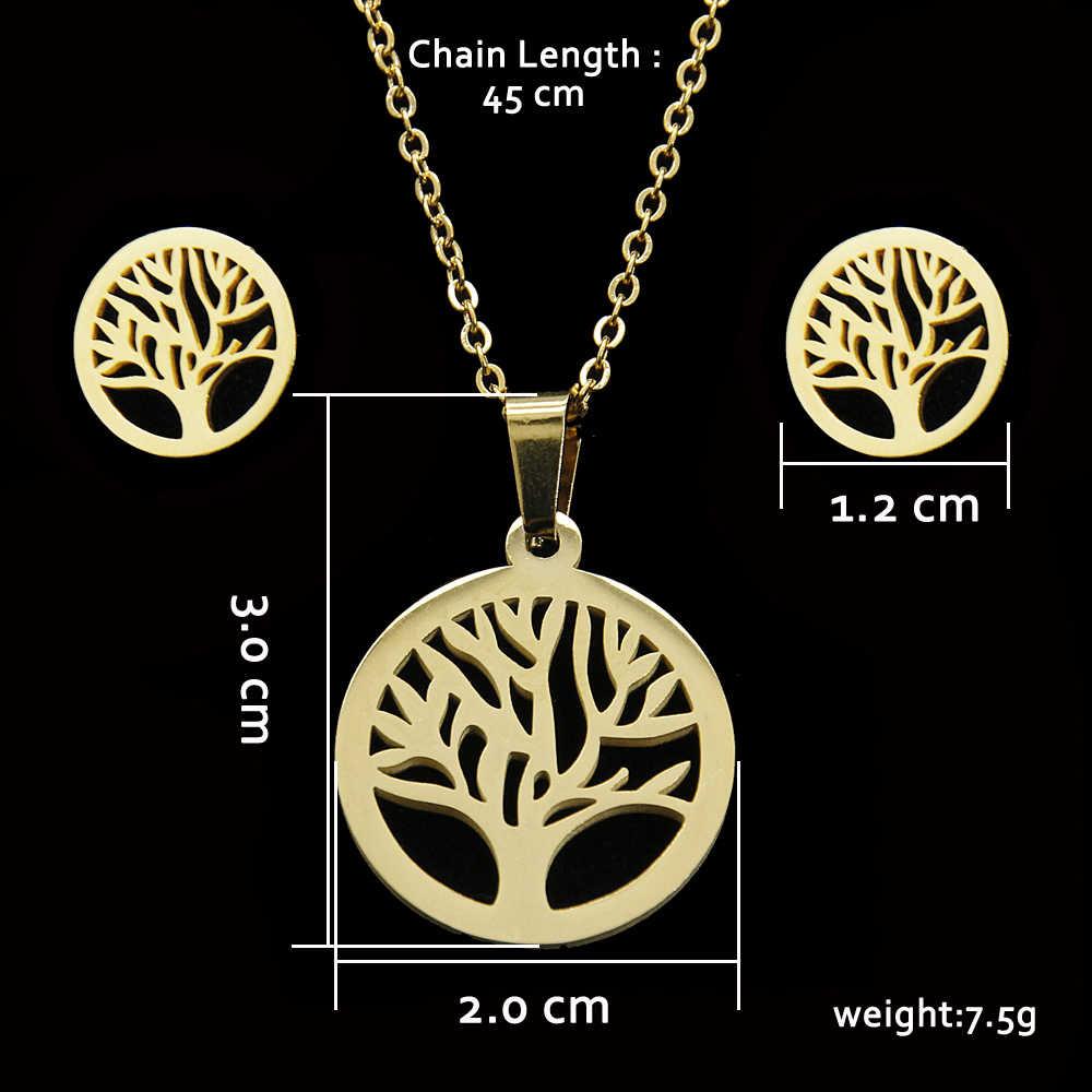 Legenstar arbre de vie à la mode collier boucles d'oreilles ensembles bijoux pour femmes en acier inoxydable collier ras du cou cadeau de noël