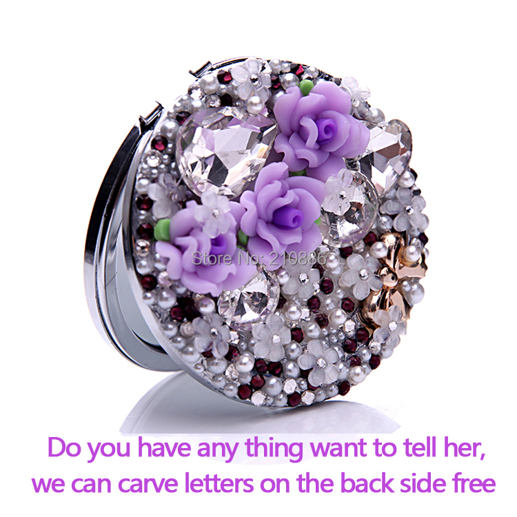Engrave words free,wedding gifts,bling crystal cute flower bowknot,Beauty pocket mirror,stainless steel,makeup compact mirror