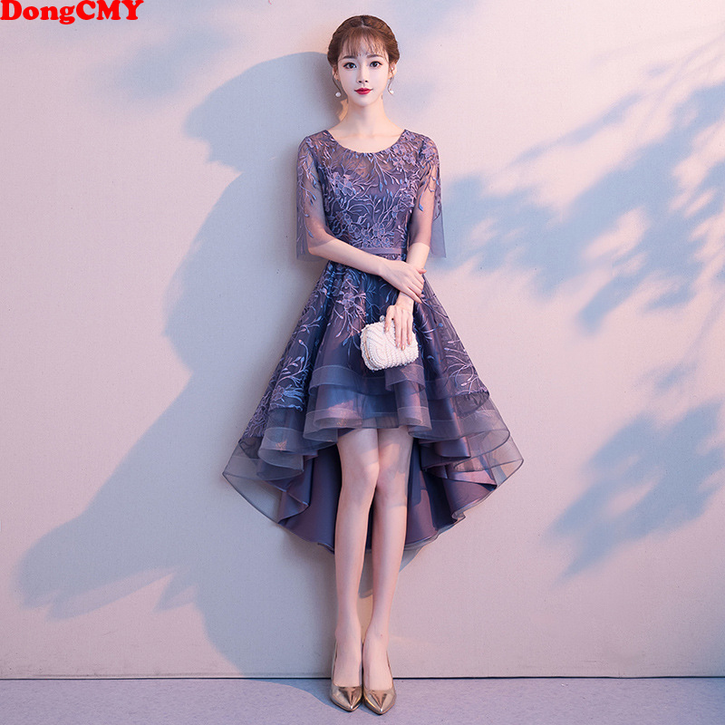 DongCMY New High/Low Junior Bridesmaid Dress Bride Wedding Party Flower Zipper Vestido Gown
