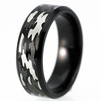 Camouflage Design Military Ring Black Bevel New Tungsten Ring Comfort Fit Design Men S Wedding Ring