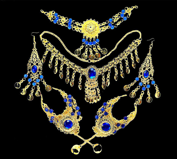 Women Belly Dance Jewelry 6 Pcs/set Wholesale Indian Belly Dance Wear Belly Dancing Accessories Necklace Jewelry Set For Lady