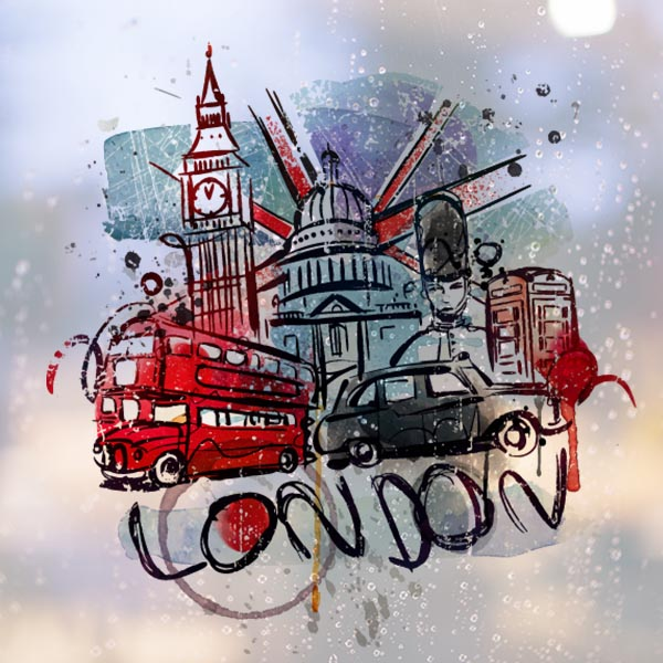 Bus Car UK England Landmark Flag Mark Illustration Pattern Removable Wall Sticker City Buildings Art Decals Mural DIY Wallpaper In Stickers From Home