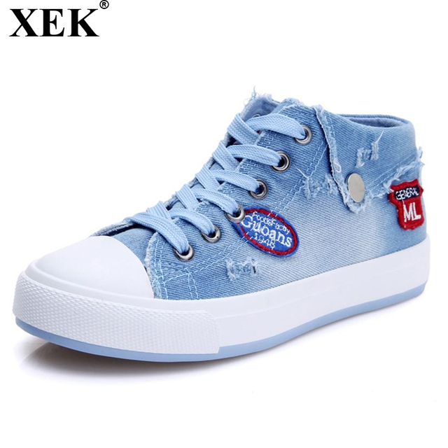 5ace1c2eaf2a XEK New 2018 Spring Autumn Design Fashion Washing Denim Canvas For Women  Jeans Shoes Flat Casual
