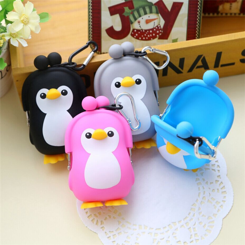 XZXBBAG Kawaii Penguin Pouch Cute Silica Gel Coin Purse Holder Cartoon Animal Hasp Small Wallet Girls Change Purse Kid Gift Bags 2018 new fashion lovely kawaii candy color cartoon animal women girls wallet multicolor jelly silicone coin bag purse kid gift