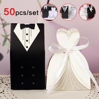 50Pcs Sweet Wedding Dress suit design Candy box Guest Romantic Wedding Groom And Bride Gift Box Luxury Wedding Bags 3
