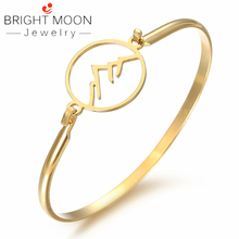 BRIGHT MOON Trendy Tension Setting Stainless Steel Cuff Bracelet 6.5cm Diameter Designer Bohemia Bangle Luxury Jewelry for Women