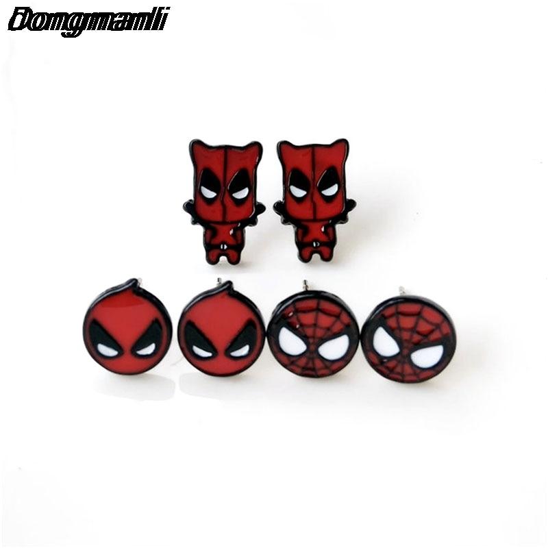 P346 Dongmanli Hot Sale Classic Cartoon Anime Leuke Deadpool Spider-Man Homecoming Stud oorbellen voor vrouwen Meisje Kinderen Gift