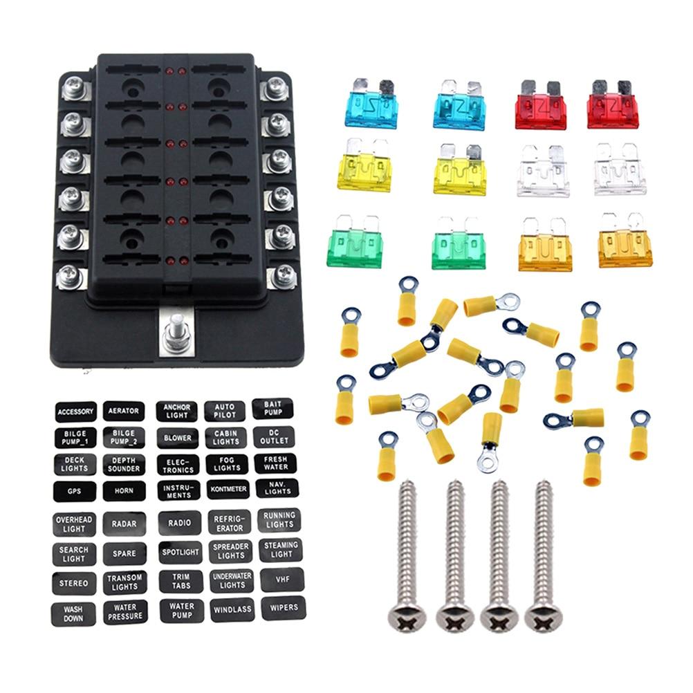 rv fuse box covers blade fuse box holder with led warning indicator 12 ways damp  blade fuse box holder with led warning