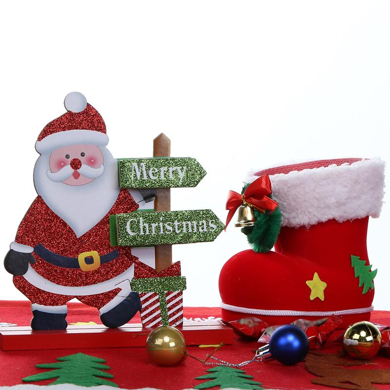 Elk Santa Snowman Living Room Table Desktop Ornament Wooden Craft Christmas Decoration For Home