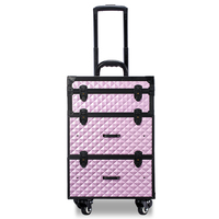 c1209886f Portable Professional Trolley Cosmetic Case Bag Suitcase For Makeup With  Wheels Large Capacity Women Box Nails
