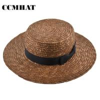 Summer Wide Brim Sun Hats For Women Fashion Hairball Women Boater Straw Hat Coffee Wheat Floppy