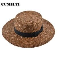 Yaz Hasır Şapkalar Kadınlar Için Geniş Ağız Düz Kenar Kadın Plaj güneş Şapka Kız Evacuations Chapéu Feminino Için Buğday Panama Hasır Şapka kadınlar
