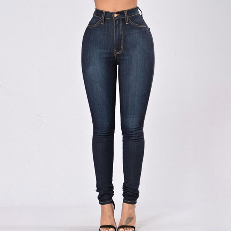 Women Grinding White Elastic Skinny Stretch Jeans Plus Size 3XL High Waist Jeans Washed Casual Denim Pencil Pants Women Jeans