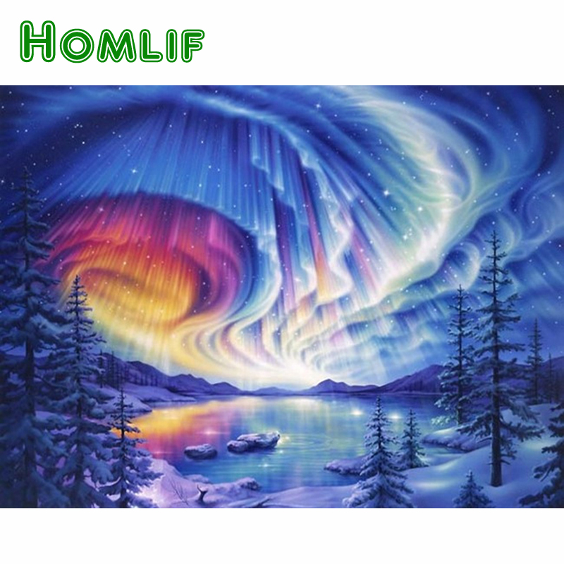 HOMLIF Diy Diamond Painting Cross stitch landscape winter Full Diamond Embroidery 5D Square Diamond Mosaic Home Decor gift sky