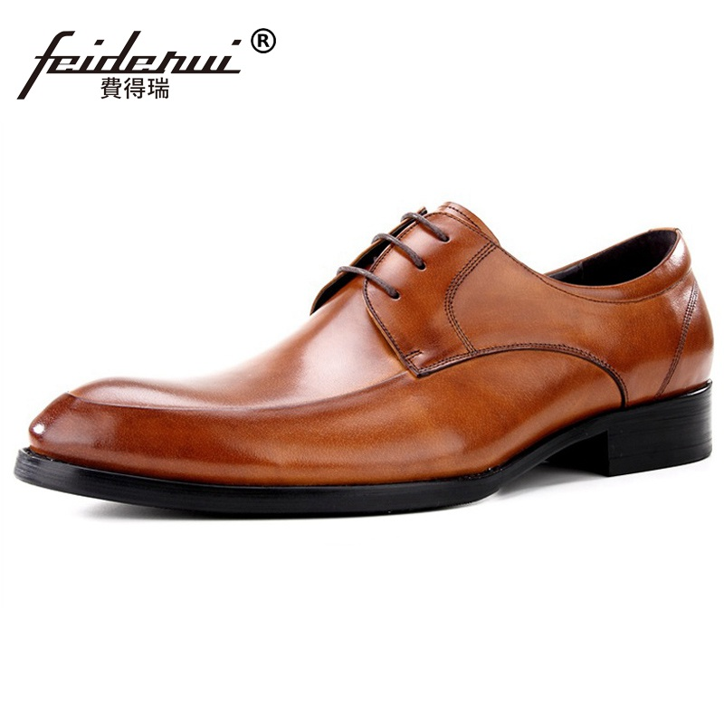 New Formal Derby Man Dress Party Shoes Round Toe Genuine Leather Oxfords Luxury Brand Men's Bridal Wedding Flats For Male MG58  ruimosi new arrival formal man bridal dress flats shoes genuine leather male oxfords brand round toe derby men s footwear vk94