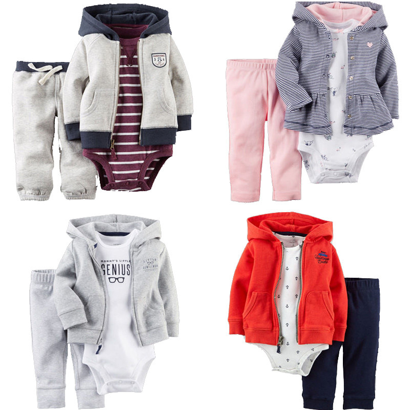 3pcs Baby Girl Boy Clothes Newborn Toddler Infant 100% Cotton Hoodies Coat + Romper Pants Trouser Outfit 3-24M Children Clothing