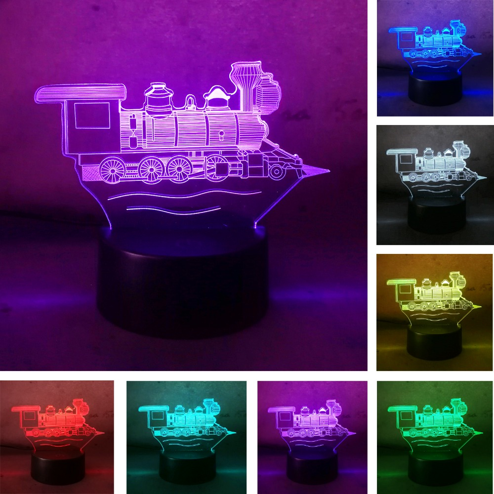 3D Visual Locomotive Ancient Vintage Train Illusion Lamp 7 Color Changing Night Light Led Touch Table Bulbing Decor Xmas Gifts color changing dolphin shape 3d visual led night light
