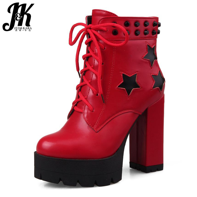 Plus Size 34-43 2016 Patch Color Ankle Boots Thick High Heels Skid Proof Platform Shoes Woman Rivets Lace Up Fall Winter Boots big size 34 43 fashion rivets skid proof ankle boots square high heels platform shoes fall concise winter boots shoes woman