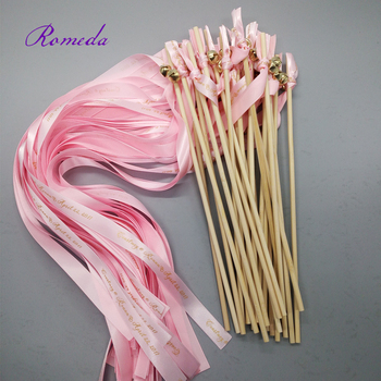50pcs/lot Personlazied Pink Wedding ribbon Wands custom wedding ribbon stick Streamers with gold Bells for wedding party