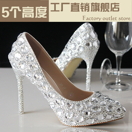 Crystal shoes wedding shoes bridal shoes rhinestone handmade women's shoes silver thin heels high-heeled pointed toe hot sale silver color women fashion rhinestone high quality wedding bridal shoes woman pointed toe high heels crystal stiletto p