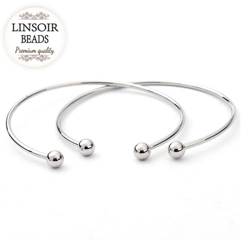 5 unids / lote plata europea plateada ajustable brazalete abierto - Bisutería - foto 2