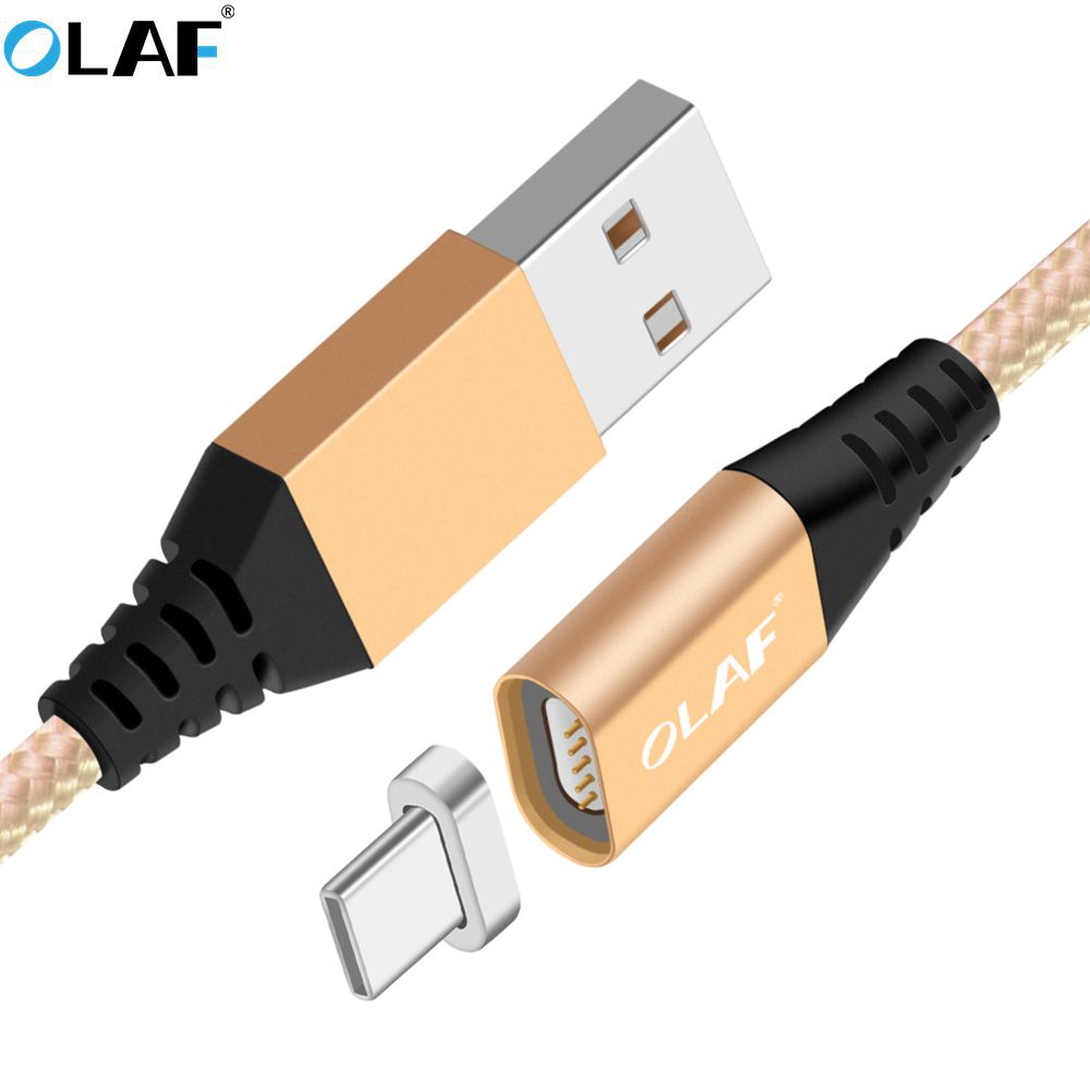 OLAF 5V 2.4A Led Magnetic USB Type C Cable USB C Magnetic Charger Cable For SAMSUNG S8 Note 8 USB-C Type-C Devices USB Cable
