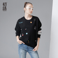 Toyouth New Arrival Women Cotton Letter Printed Long Sweatshirts Autumn Pullovers O Neck Sweatshirts