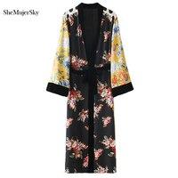 SheMujerSky Women Blouse Kimono Cardigan Patchwork Long Shirt Sashes Camisas Femininas Manga Longa 2017