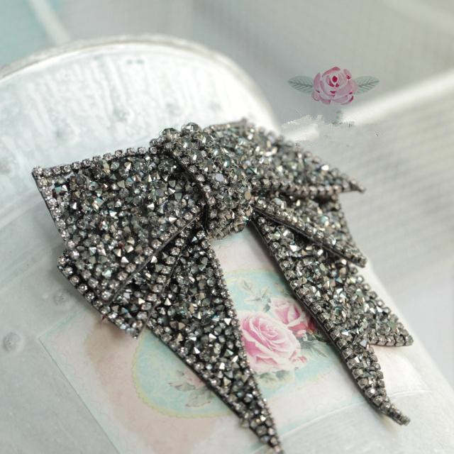 acd6e630c164c Free Shipping shinny black bow Rhinestones dress clothes shoes bag beads  appliques patch brooch Clothing accessories