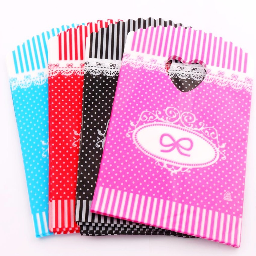 100pcs       Hot sell 4Colors Bow Dots Strips Plastic Bags Gift Bag 13x20cm Jewelry Pouches GB074