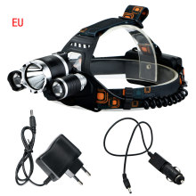 NEW 6000 Lumens LED Headlamp CREE XML T6 2R5 LED 4 Modes Rechargeable Headlight Head Lamp Spotlight +EU Charger+CAR Charger