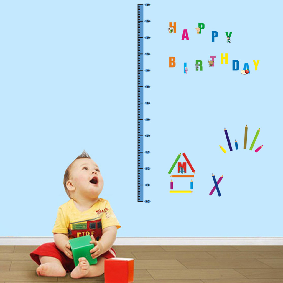 Removable Height Chart Measure Wall Sticker Decal for Kids Baby Room UnderseXZT