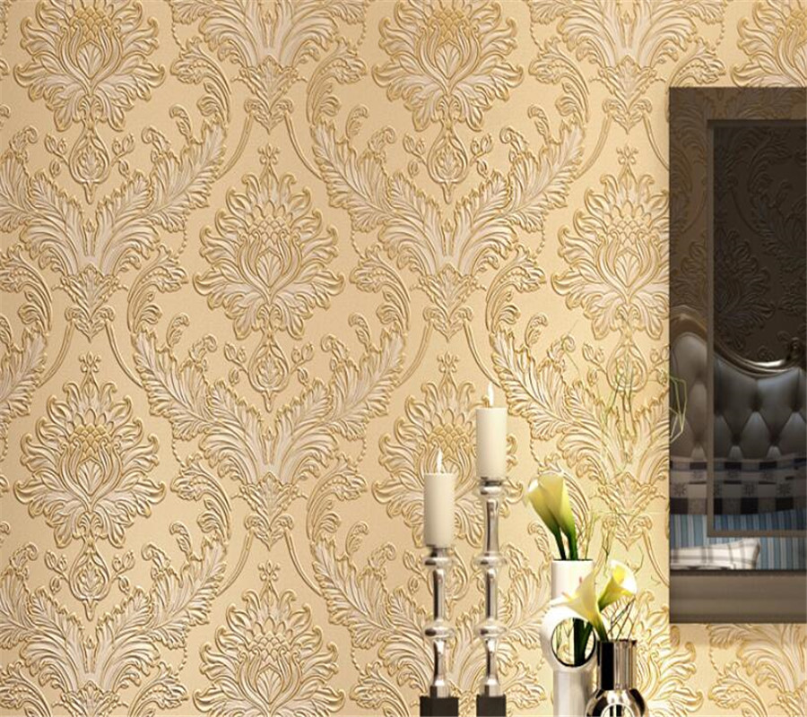 Luxury Modern Damask Wallpaper Embossed Retro blue yellow wallpaper For Living Room Tv Background Covering 10 m Roll Beibehang float level switch for water tank tower pond yellow blue 5m