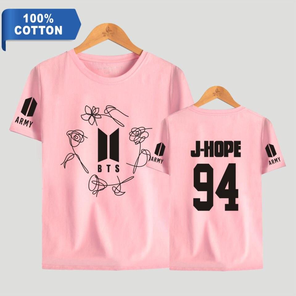 100% Baumwolle K-pop Bangtan Boys T Shirt Liebe Selbst Armee Print Kurzarm T-shirts Frauen Mode T Shirts Kleidung