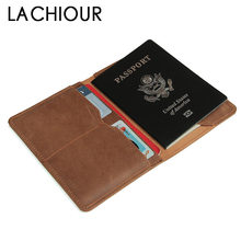 Men Vintage Crazy Horse Leather Passport Cover Unisex Genuine Leather Card Holder Case Women Brown Passport Case passport cover o 23 sh brown