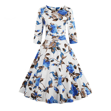 Women Cotton Vintage Dress 50s Rose Floral Print Spring and Autumn Casual Party  Audrey Hepburn Rockabilly Swing Female Dresses