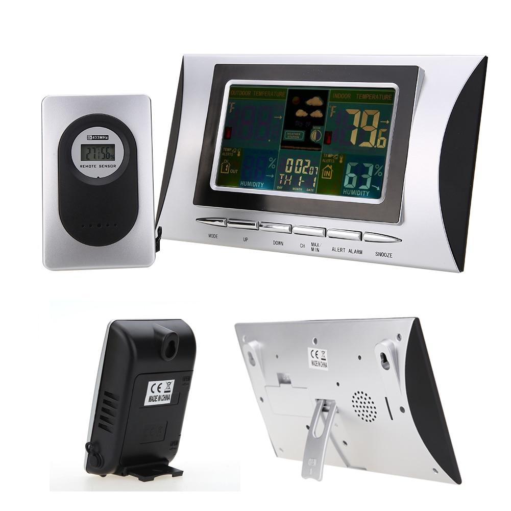 Digital Barometer Wireless Weather Station LED Indoor Outdoor Temperature Humidity Alarm Clock Calendar Weather Forecast цена 2017