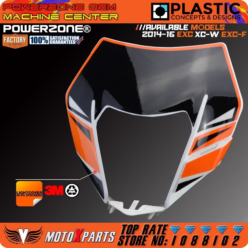 PowerZone Headlight Motorcycle Dirt Bike Motocross Supermoto Universal For KTM SX EXC XCF SXF SMR 2015 16 Headlamp Cover