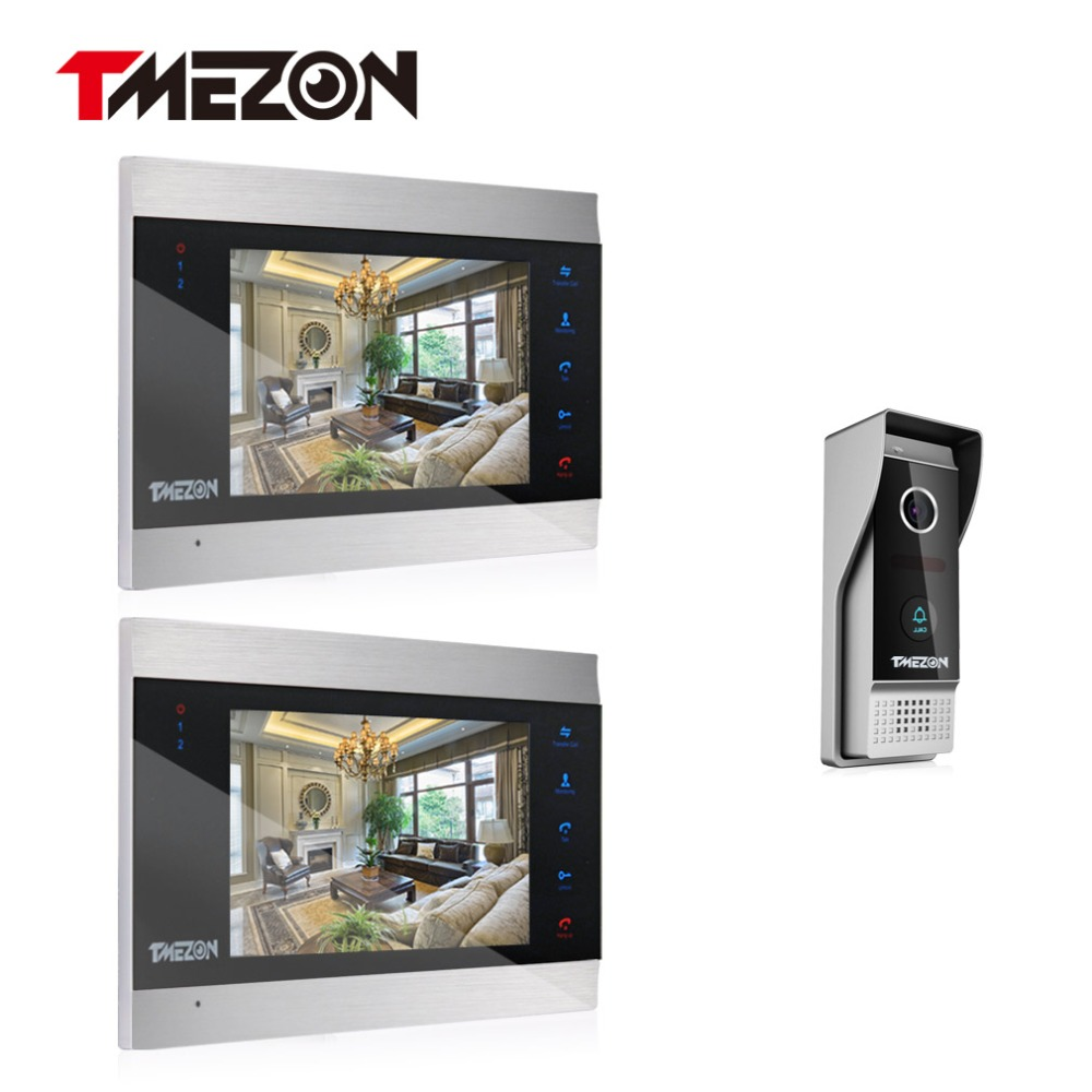 Tmezon Video Door Phone System 2pcs 7 Color Monitor One 1200TVL Outdoor Doorbell Camera Waterproof Auto-IR Night Vision 2V1 Kit tmezon 4 inch tft color monitor 1200tvl camera video door phone intercom security speaker system waterproof ir night vision 4v1