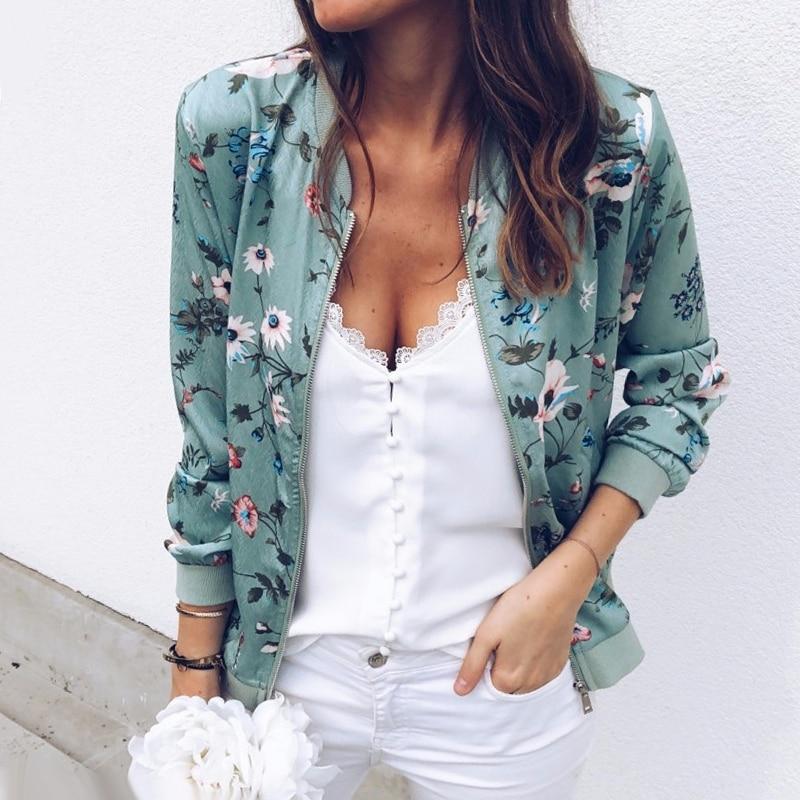 2019 Mode Fashion Womens Dames Retro Bloemen Rits Up Bomber
