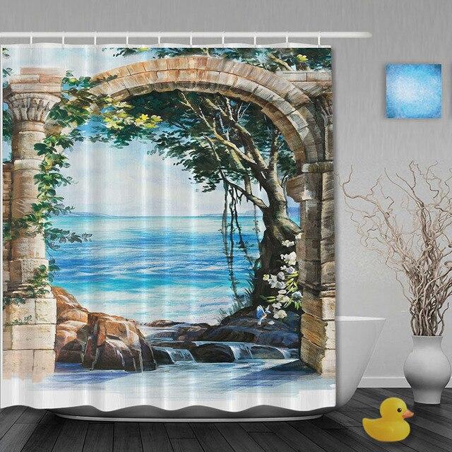Seaside Scene Bathroom Shower Curtains Stone Arches Curtain Waterproo Polyester Fabric Custom Hooks