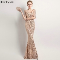 Partysix Half Sleeve Sequins Dress Formal Occasion Long Party Bodycon Dress