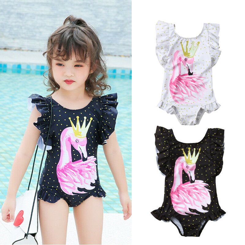 Hot For 6M-5Y Toddler Kid Baby Girls Swimwear Flamingo One-piece Bikini Flying Sleeve Polka Dot Swimsuit Bathing Beach Holiday