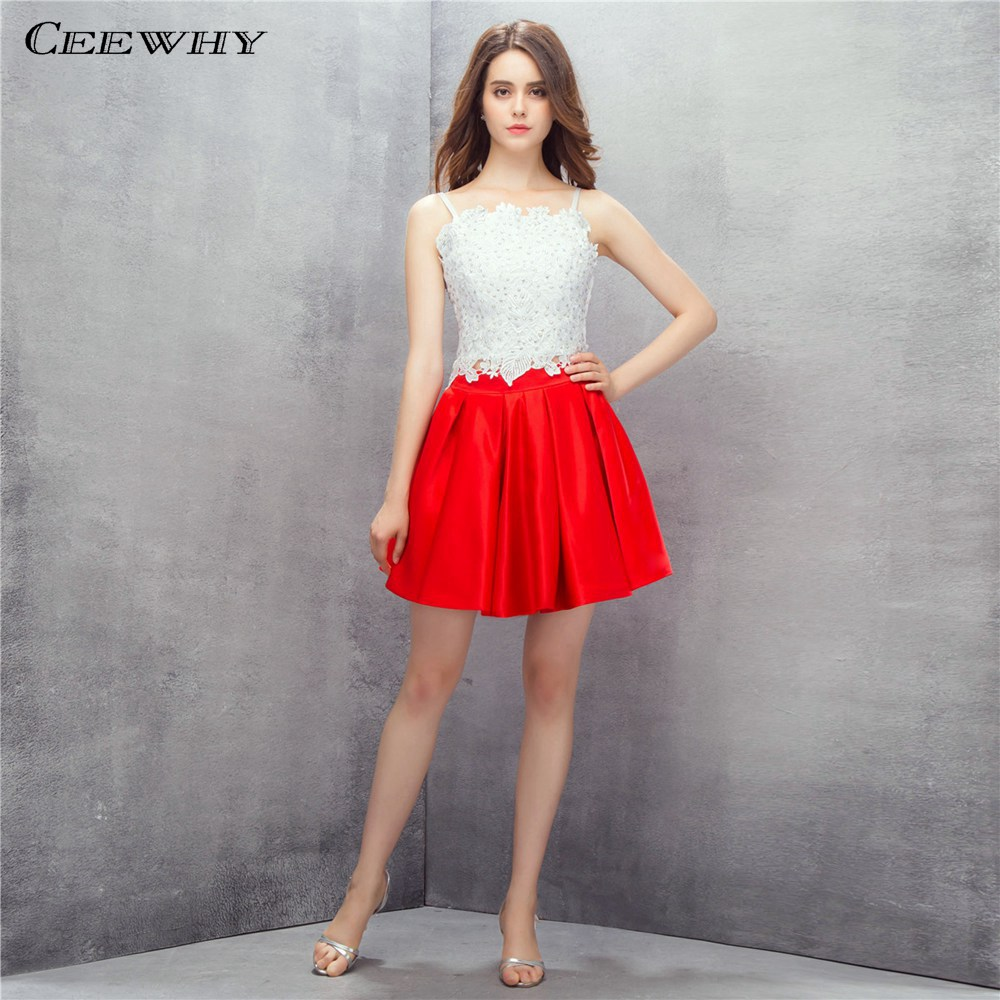 CEEWHY Spaghetti Strap 2019 Lace Formal   Dress   Women Elegant Beaded Prom   Dresses   Satin Gown Short   Cocktail     Dresses   Plus Size