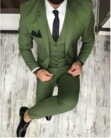 Suit Slim Fit Green Formal Dress Men Suit Wedding Suits For Men Groom Prom Suits Best Man Tuxedo 3 Pieces(Jacket+Vest+Pants)