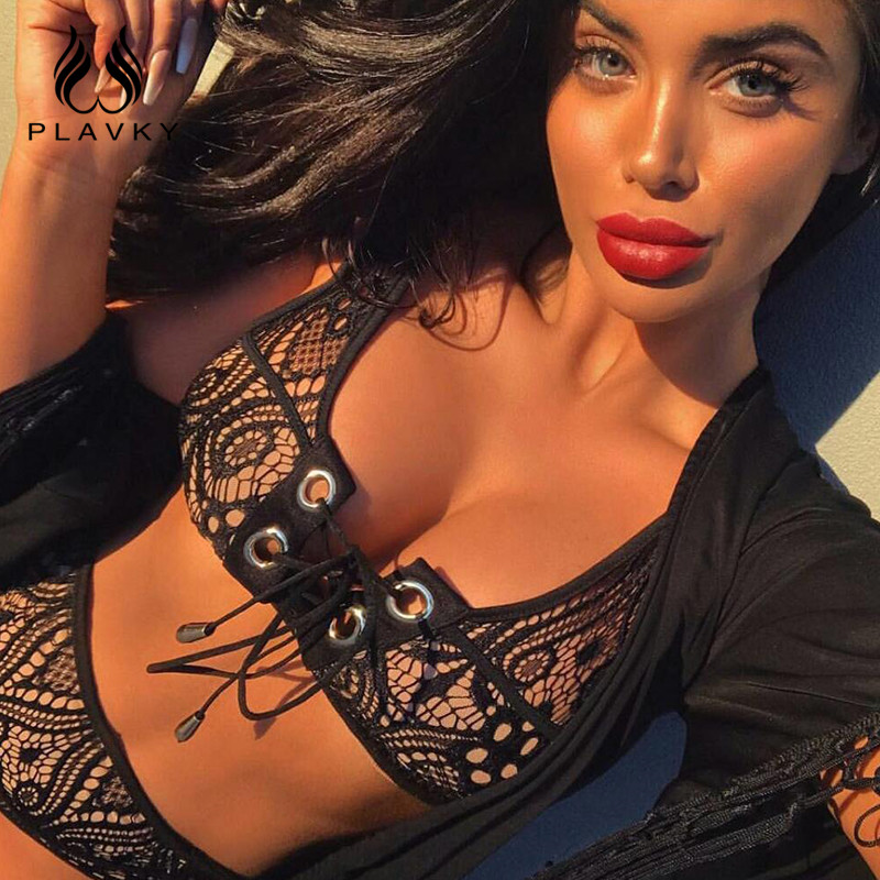 PLAVKY 2017 Sexy Lace High Waist Bikini Women Swimwear Hollow Out Bandage Swimsuit Bathing Suit Push Up Bikini biquini mulher maheu 2017 sexy high neck halter thong bikini set push up women bandage hollow swimsuit swimwear female cut out bathing suit