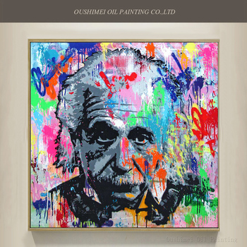 Artist Directly Supply High Quality Abstract Einstein Painting Pure Hand-painted Abstract Einstein Canvas Painting For Wall Art