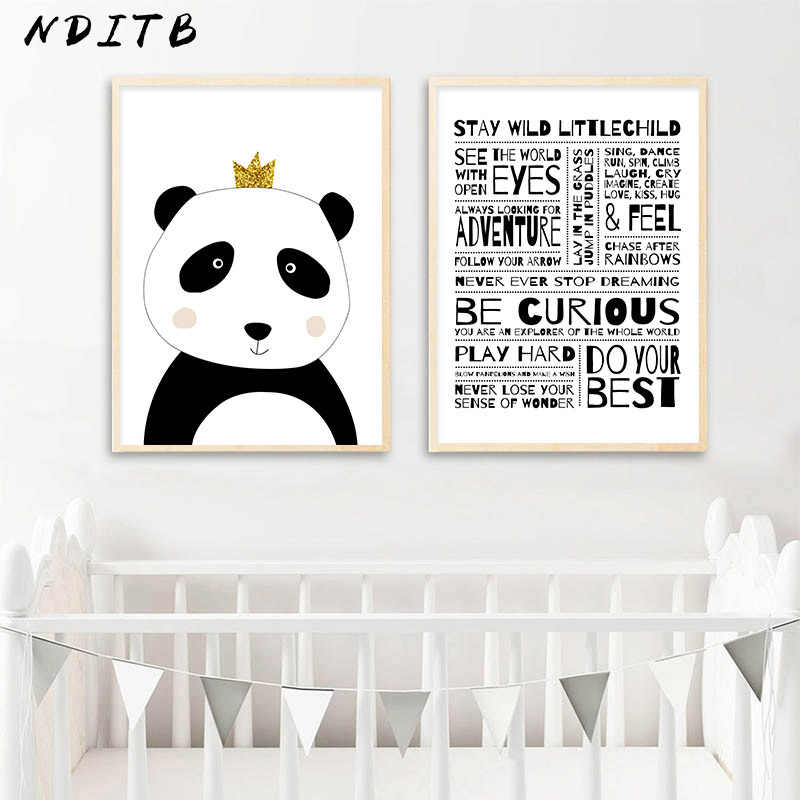 Child Manifesto Kids Rule Picture Baby Nursery Wall Art Poster Black White Panda Canvas Print Cartoon Painting Bedroom Decor