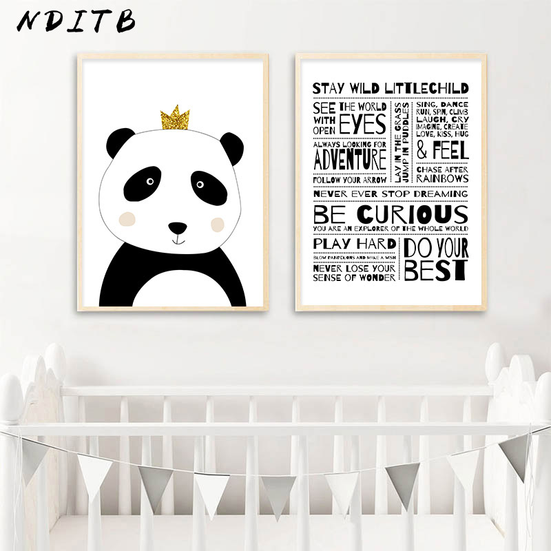 Child Manifesto Kids Rule Picture Baby Nursery Wall Art Poster Black White Panda Canvas Print Cartoon Painting Bedroom Decor