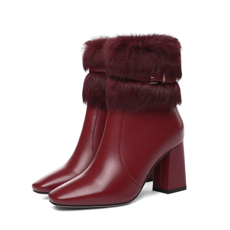 Image 3 - MORAZORA 2020 new arrival genuine leather ankle boots women square toe keep warm winter boots fashion high heels shoes woman-in Ankle Boots from Shoes